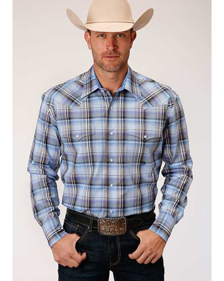 Roper Amarillo Men's Cool Breeze Plaid Long Sleeve Western Shirt , Blue, hi-res