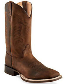 Old West Men's Brown Stitch Western Boots - Wide Square Toe, Brown, hi-res