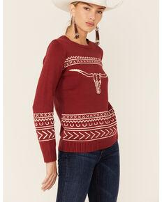 Cotton & Rye Women's Bullhorn Sweater, Red, hi-res