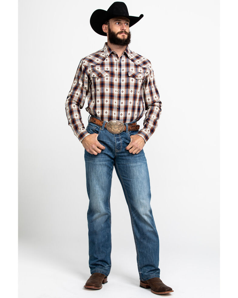 Cody James Men's Game Day Dobby Plaid Long Sleeve Western Flannel Shirt , Red, hi-res