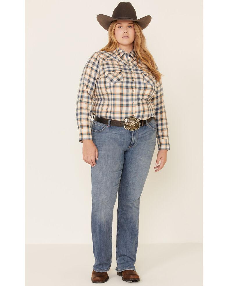 Ariat Women's R.E.A.L. Natural Plaid Long Sleeve Western Shirt - Plus, Navy, hi-res