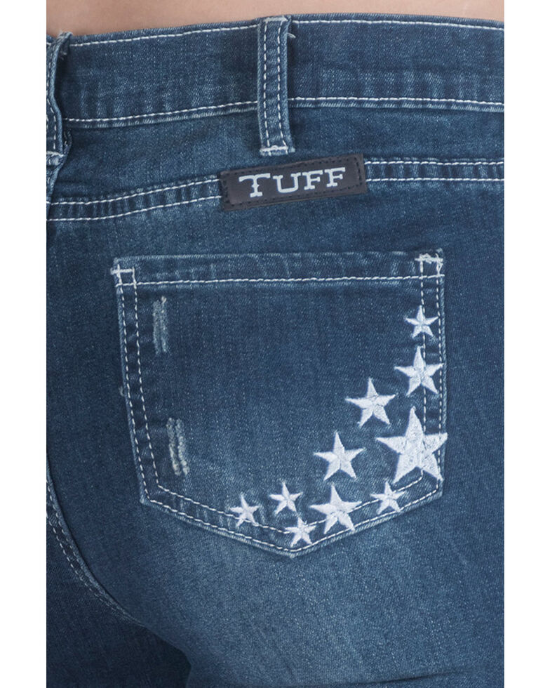 Cowgirl Tuff Girls' Medium Wash Stardust Embroidered Bootcut Jeans, Blue, hi-res