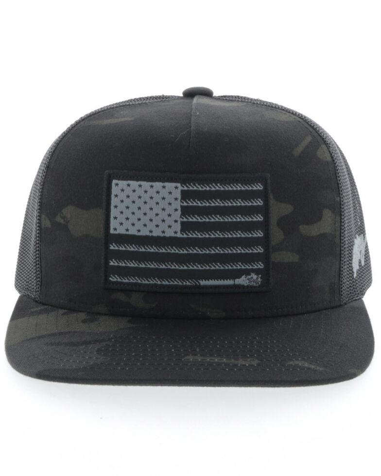 Hooey Boys' Camo Liberty Roper Flag Mesh Ball Cap , Camouflage, hi-res