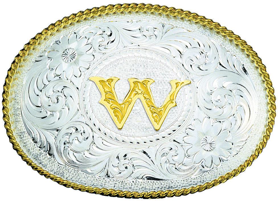 Montana Silversmiths Engraved Initial W Western Belt Buckle, Multi, hi-res
