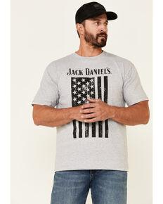 Jack Daniels' Men's Grey Bottle Banner Flag Graphic Short Sleeve T-Shirt , Grey, hi-res