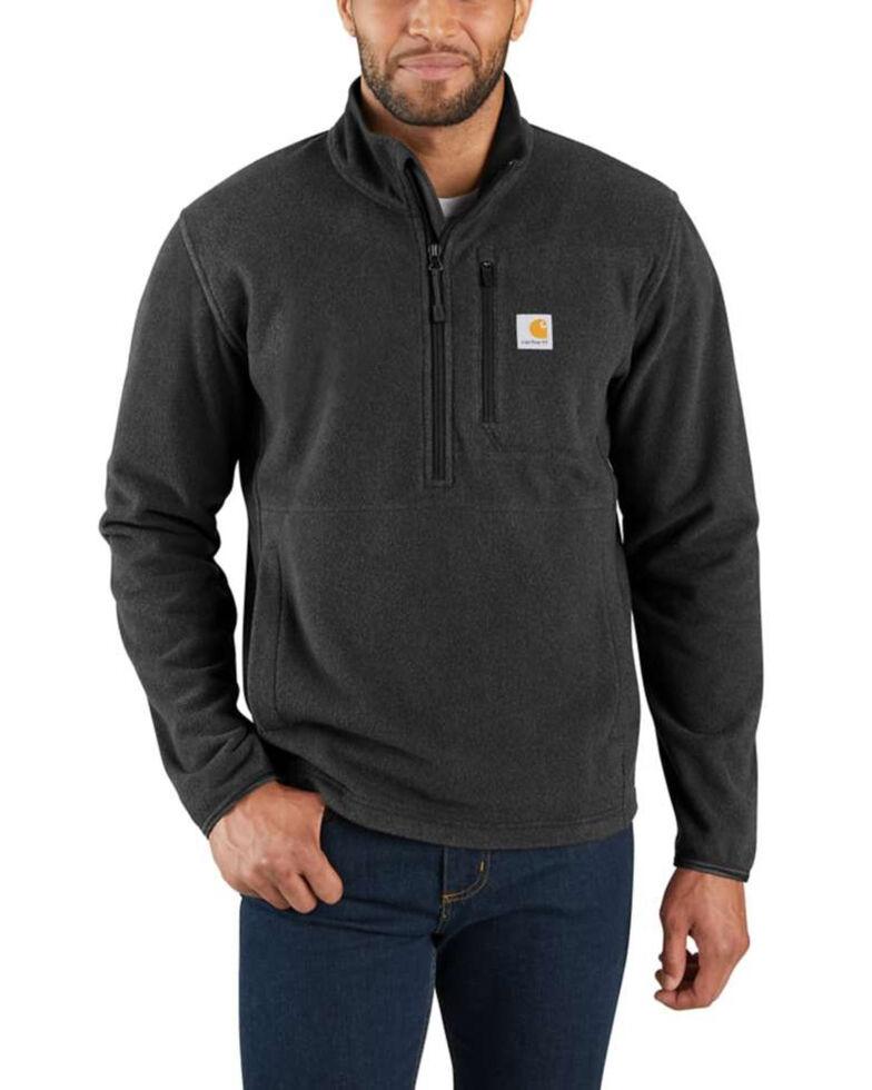 Carhartt Men's Black Heather Half-Zip Fleece Pullover - Tall, Black, hi-res