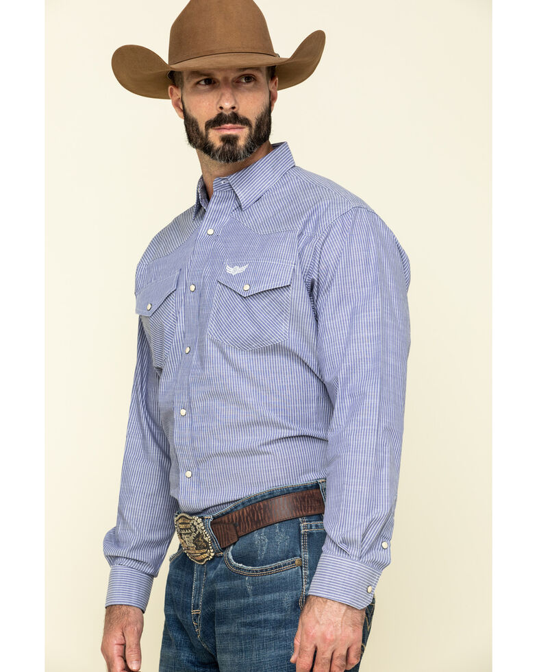 Ariat Men's Relentless Positive Stretch Striped Long Sleeve Western Shirt , Blue, hi-res