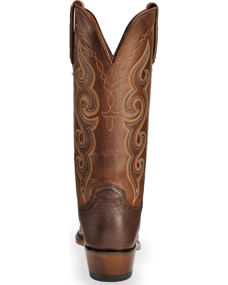 Lucchese Women's Handmade Chocolate Yvette Ostrich Leg Western Boots - Square Toe , Chocolate, hi-res