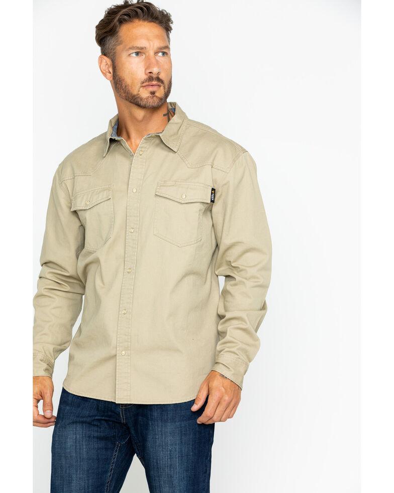 Hawx Men's Twill Snap Long Sleeve Western Work Shirt - Tall , Beige/khaki, hi-res