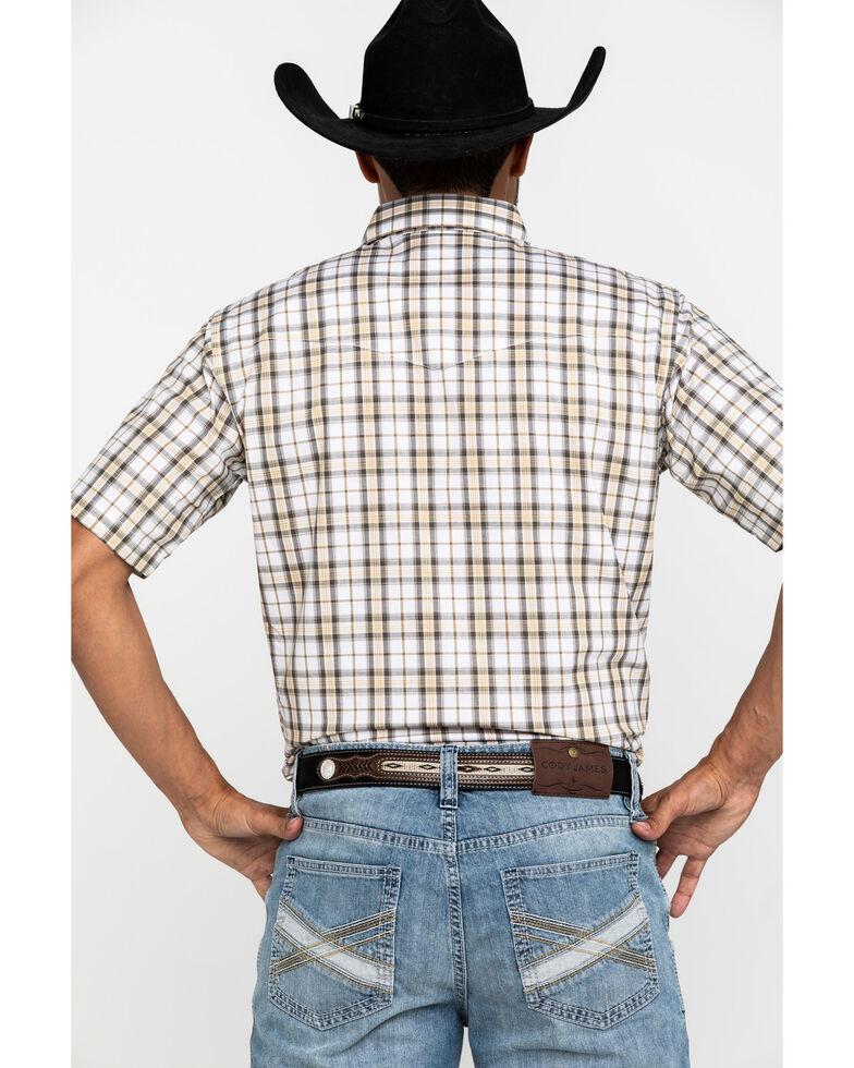 Wrangler Men's Wrinkle Resist White Plaid Short Sleeve Western Shirt , White, hi-res