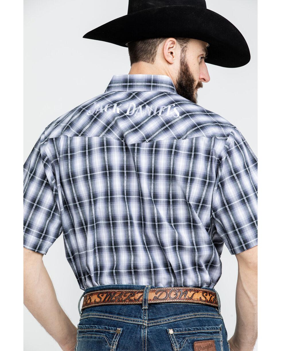 Jack Daniels Men's Textured Plaid Short Sleeve Western Shirt , Black, hi-res