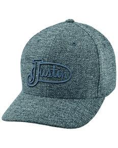 Justin Men's Grey Logo Embroidered Cap , Charcoal, hi-res