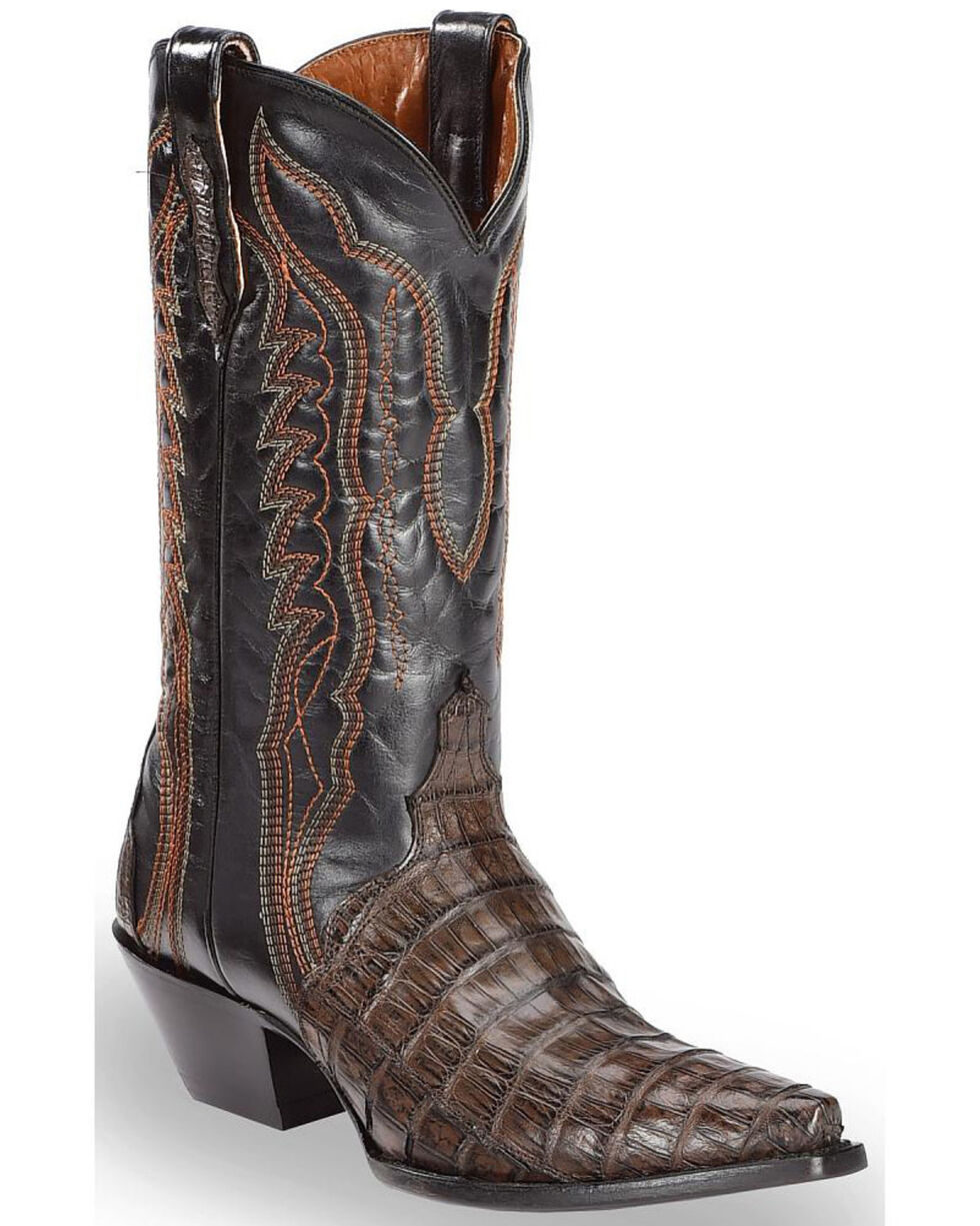 Dan Post Women's Chocolate Caiman Triad Cowgirl Boots - Snip Toe, Chocolate, hi-res