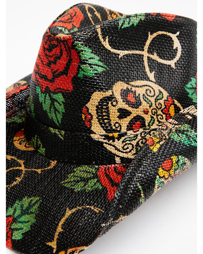 Shyanne Women's Natural O Tainted Love Rose Print Straw Western Hat, Black, hi-res