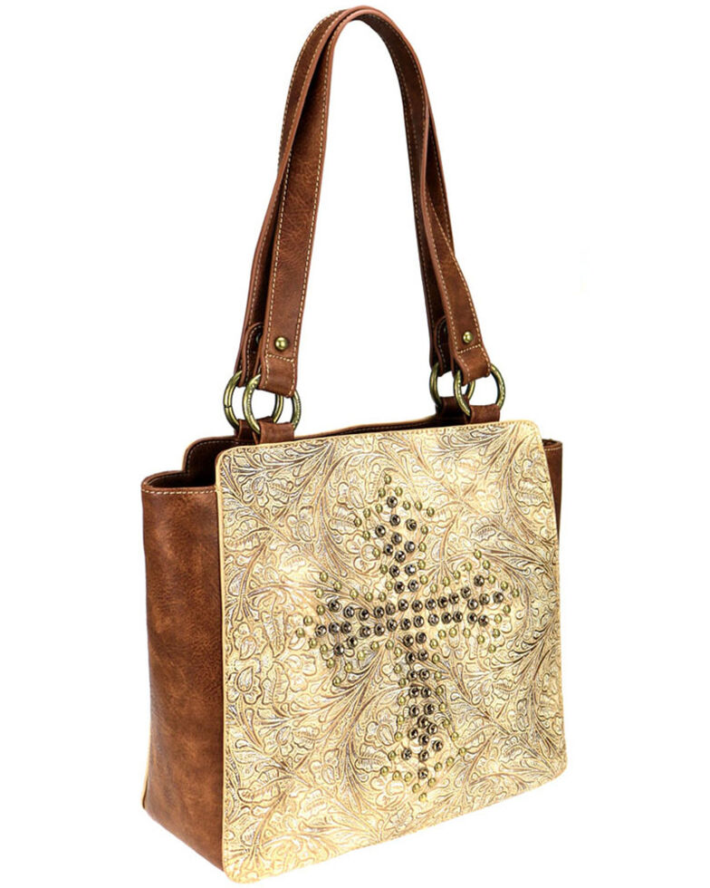Montana West Women's Tan Spiritual Concealed Carry Tote , Tan, hi-res