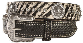 Nocona Zebra Print Hair-on-Hide Cowboy Prayer Concho Western Belt, Multi, hi-res