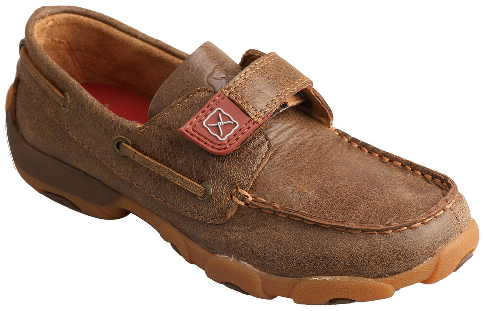 Twisted X Youth Boys' Bomber Driving Mocs, Brown, hi-res