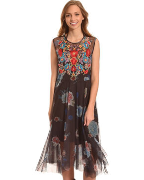 Johnny Was Women's Black Shemere Mesh Dress , Multi, hi-res