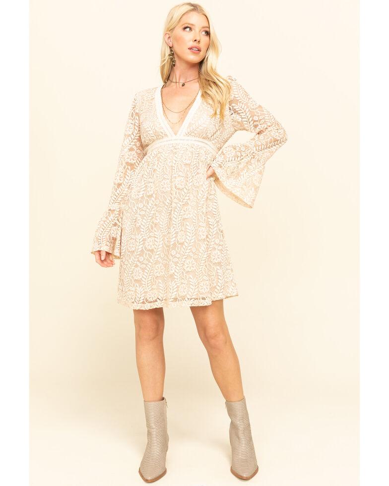 Mystree Women's Natural Leaf Lace Deep V-Neck Dress, Natural, hi-res
