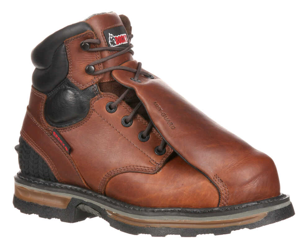 Rocky Elements Steel Waterproof Met Guard Work Boots - Composite Toe, Brown, hi-res