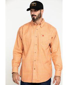 Ariat Men's FR Orange Excavator Plaid Long Sleeve Work Shirt - Big , Orange, hi-res