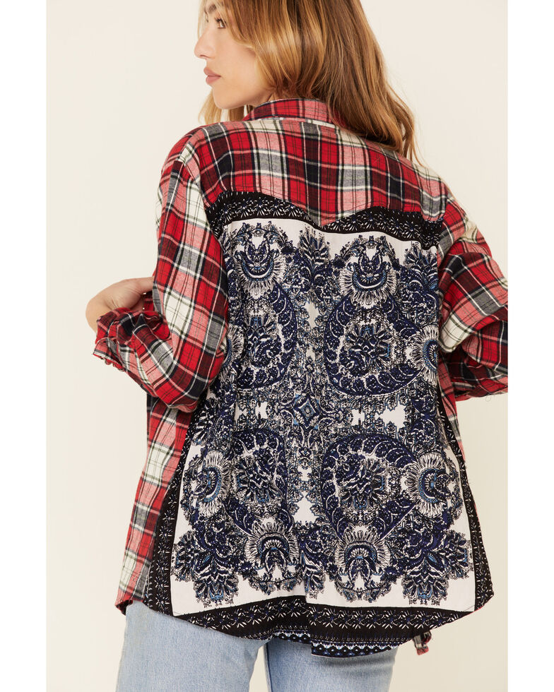 Nostalgia Women's Red Plaid Embroidered Back Panel Long Sleeve Western Shirt , Red, hi-res
