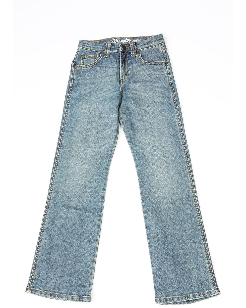 Wrangler Boys' Relaxed Stitched Boot Jeans  , Medium Blue, hi-res