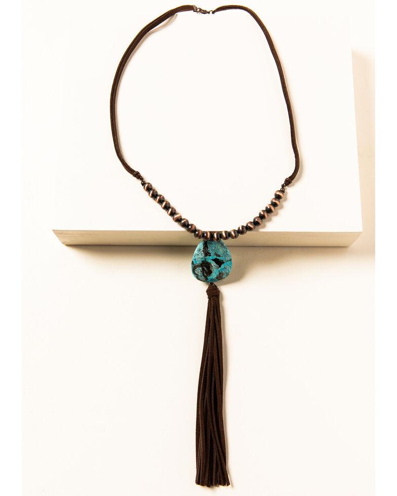 Shyanne Women's Willow Moon Stone Tassel Necklace, Rust Copper, hi-res