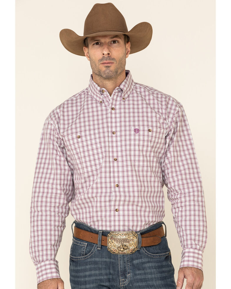 George Strait By Wrangler Plum Small Plaid Long Sleeve Western Shirt - Big , White, hi-res