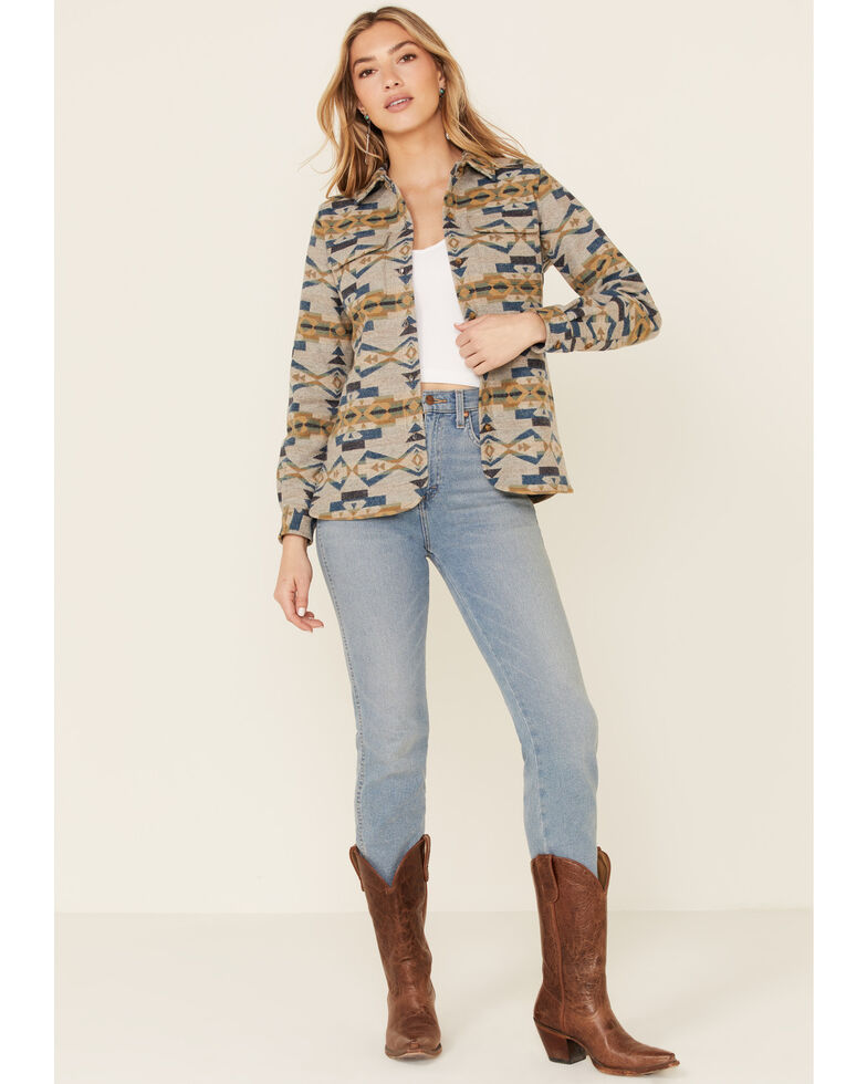 Pendleton Women's Tan Jacquard Board Plaid Long Sleeve Button Shirt Jacket , Tan, hi-res