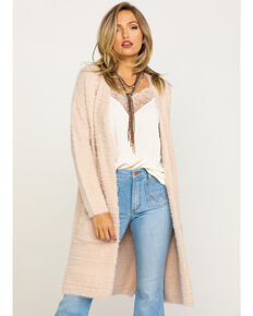 Angie Women's Blush Eyelash Duster Cardigan , Blush, hi-res