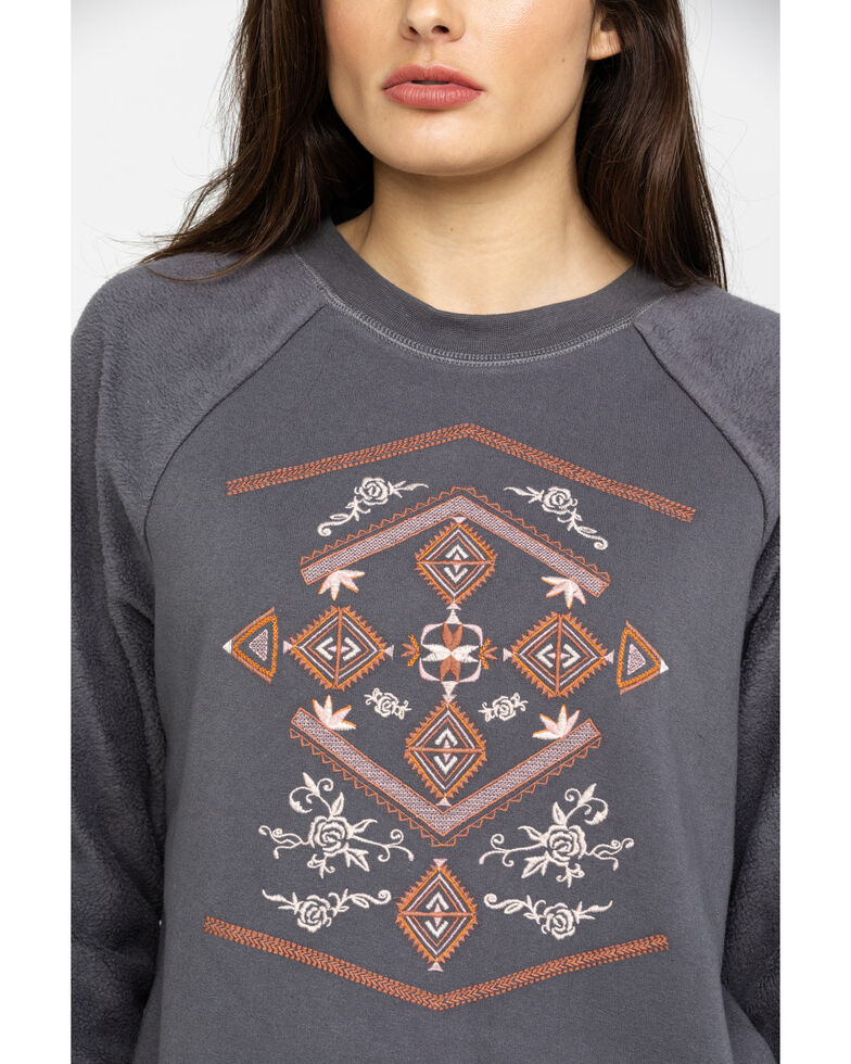 Shyanne Life Women's Charcoal Aztec Embroidered Sweatshirt, Charcoal, hi-res