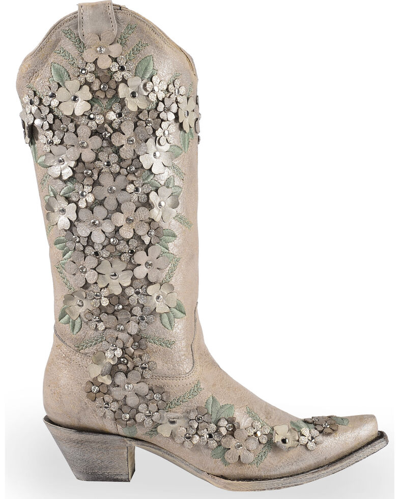 Corral Women's White Floral Overlay Embroidered Stud and Crystals Cowgirl Boots - Snip Toe, White, hi-res