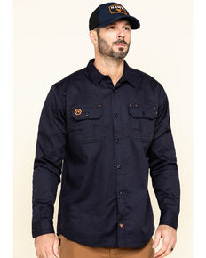 Hawx® Men's Navy FR Long Sleeve Woven Work Shirt - Tall , Navy, hi-res