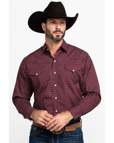 Ely Cattleman Men's Assorted Burgundy Geo Print Long Sleeve Western Shirt - Tall , Multi, hi-res