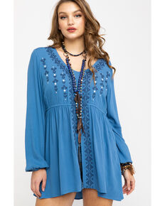 Ariat Women's Blue Tribal Tunic, Blue, hi-res
