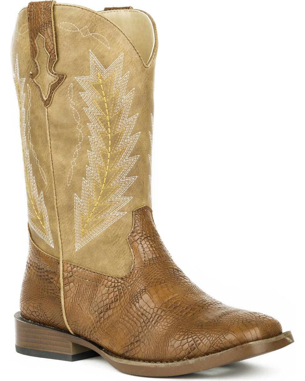 Roper Boys' Charlie Caiman Arrowhead Cowboy Boots - Square Toe, Brown, hi-res