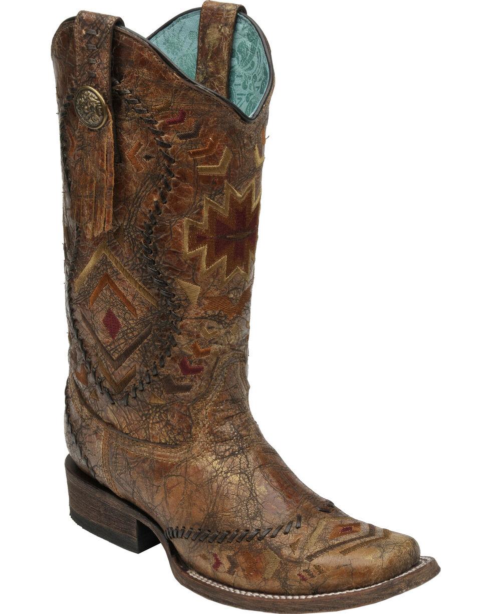 Corral Cognac Multi-Color Aztec Whip Stitch Cowgirl Boots - Square Toe, Cognac, hi-res