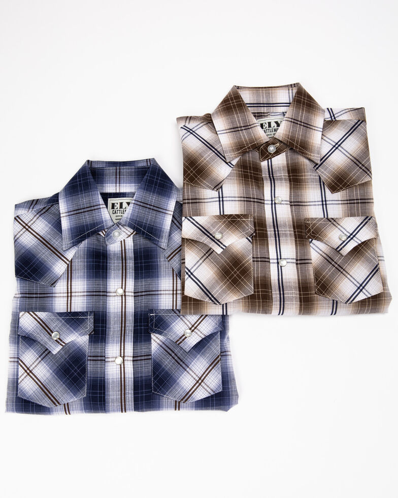 Ely Cattleman Boys' Textured Plaid Snap Long Sleeve Western Shirt  , Multi, hi-res