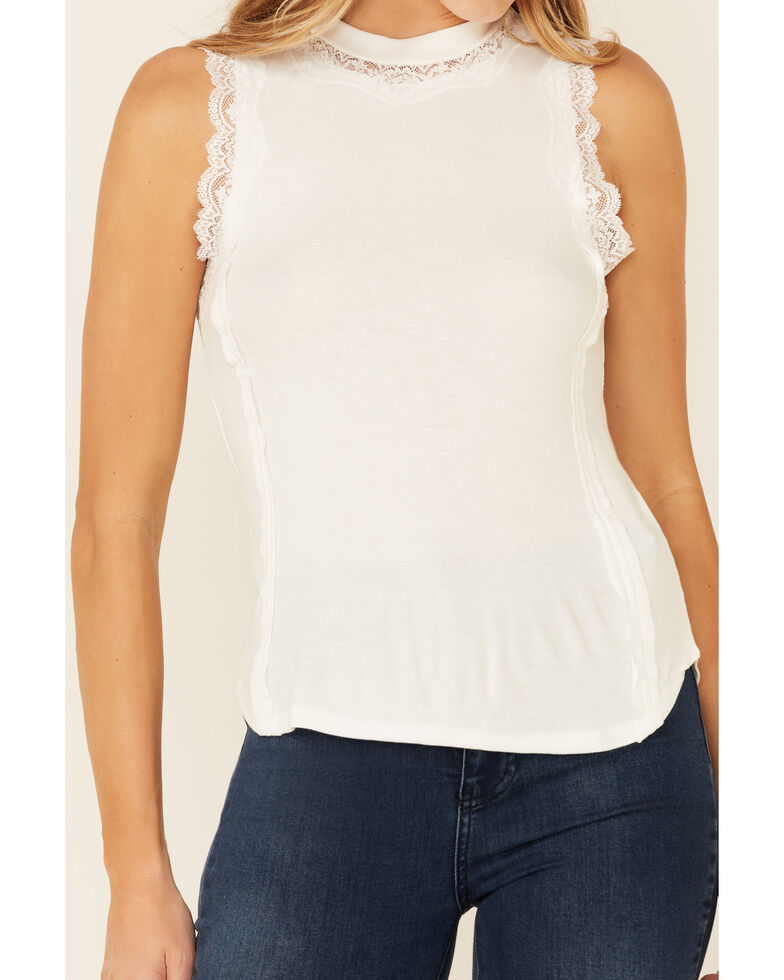 Rock & Roll Denim Women's White Hi-Neck Border Lace Tank Top , White, hi-res