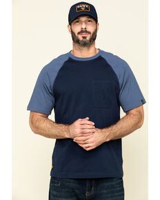 Hawx Men's Navy Midland Short Sleeve Baseball Work T-Shirt - Tall , Navy, hi-res