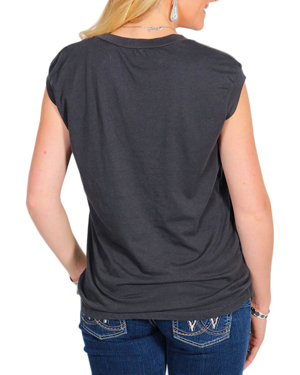Bandit Women's Traveling Love Graphic Cap Sleeve Top, Black, hi-res