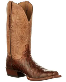 Lucchese Men's Cliff Western Boots - Wide Square Toe, Chocolate, hi-res