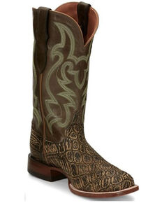Justin Men's Boomer Saddle Exotic Croc Western Boots - Square Toe, Brown, hi-res