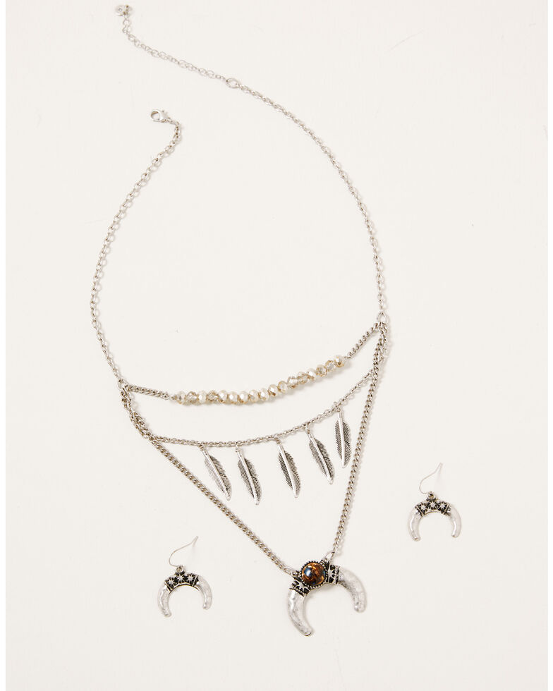 Shyanne Women's Claire Layered Crescent Feather Jewelry Set, Silver, hi-res