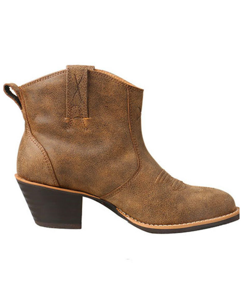 Twisted X Women's Silver Buckle Fashion Booties - Round Toe, Brown, hi-res