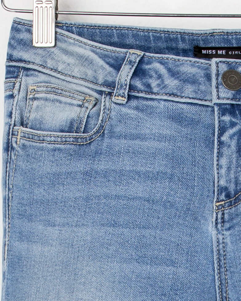 Miss Me Girls' Cut and Paste Mid-Rise Ankle Skinny Jeans, Indigo, hi-res