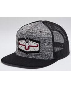 Kimes Ranch Men's Heather Grey & Black Rays Logo Patch Mesh-Back Trucker Cap , Grey, hi-res