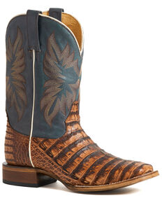 Stetson Men's Brown Deadeye Caiman Belly Boots - Square Toe , Brown, hi-res