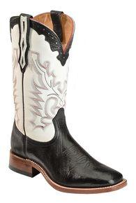 Boulet Men's White Stockman Cowboy Boots - Wide Square Toe, Black, hi-res